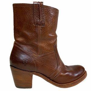 FRYE Jane Trapunto Bootie Redwood Leather Size 6.5